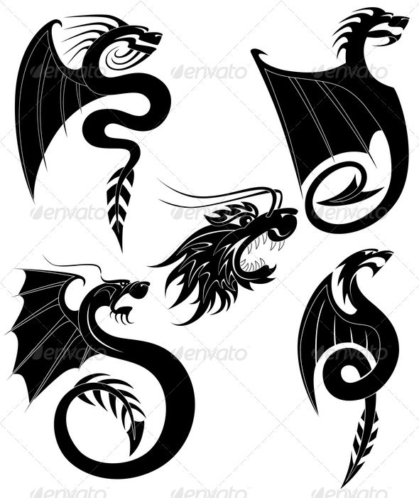 Black dragons tattoo  #GraphicRiver         Black dragon tattoo set     Created: 30January12 GraphicsFilesIncluded: PhotoshopPSD #TransparentPNG #JPGImage #VectorEPS #AIIllustrator Layered: No MinimumAdobeCSVersion: CS Tags: animals #art #asia #black #china #collection #decor #dragon #illustration #japan #monster #mystery #mythology #oriental #ornament #set #silhouette #style #symbols #tattoo #traditional #vector #wing