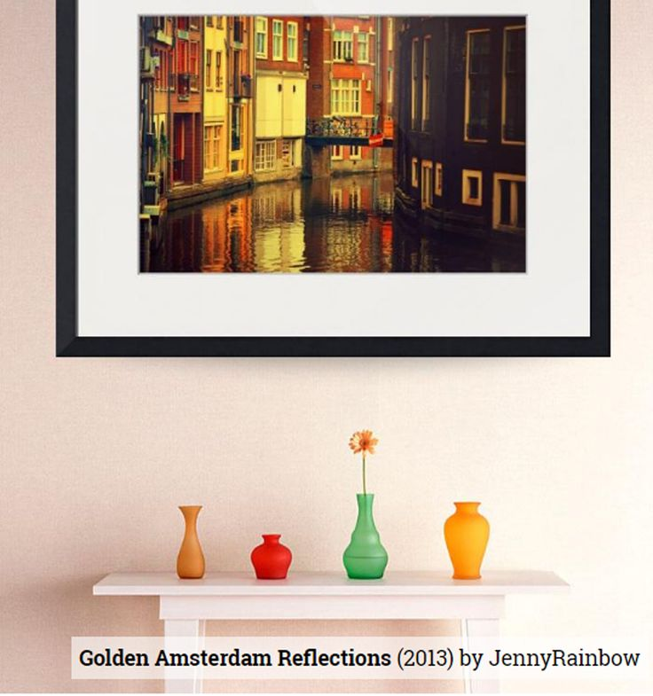 Golden Amsterdam Reflections by Jenny Rainbow.   Old picturesque Amsterdam houses with traditional Dutch architecture reflecting in the water of the canal in golden light.  Framed, metal, acrylic and wood prints and canvas available, order and payment online, delivery, 30 days money back guaranty. #JennyRainbowFineArtPhotography #Holland #Amsterdam #Netherlands #HomeDecor #WallArt