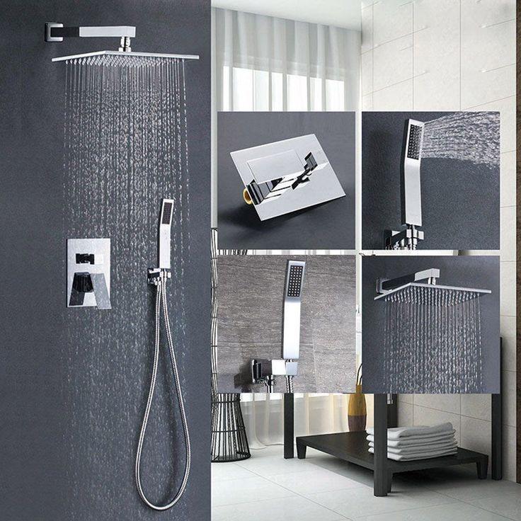 Wall Mount Rain Shower Faucet Set Hand Shower Sprayer Mixer Tap Chrome Finish MY    eBay