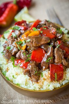 Slow Cooker Spicy Beef & Bell Pepper - Clean, healthy and delicious, all in one! Doesn't get better than this! by Let the Baking Begin!