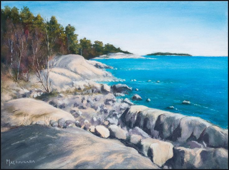 Spring on the island of Kuiva-Hevonen by Olli Malmivaara, Soft pastel painting on sanded paper 24 x 32 cm.