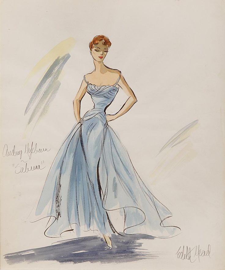 "Audrey Hepburn in SABRINA - never produced dress - a baby blue, sweeping evening gown w/ delicate shoulder straps & flowing train. Head won the 1955 Academy Award for Best Costume Design for ""her"" work on this film, refusing to share it w/ Givenchy who designed all of the Paris gowns & clothing"