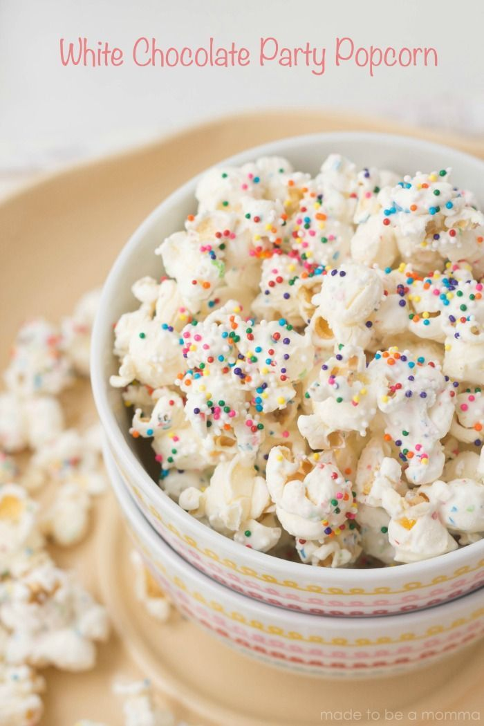 White Chocolate Party Popcorn! Only three ingredients.