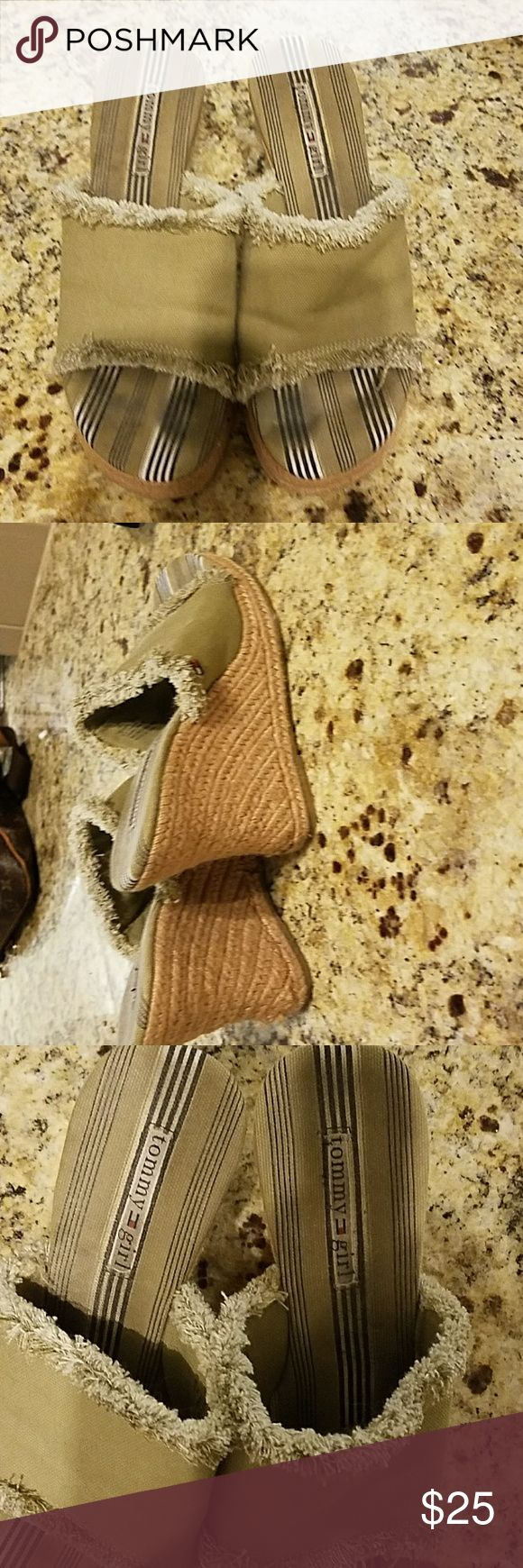 TOMMY HILFIGER...KHAKI... WEDGES...SIZE 8M Tommy Hilfiger Girl khaki slip on wedges with frayed edges, perfect for summer, 4inch wedge heel Tommy Hilfiger Shoes