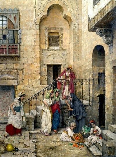 srednod:  Haremsdamen im Innenhof eines Palastes - Daniel Israel 1885