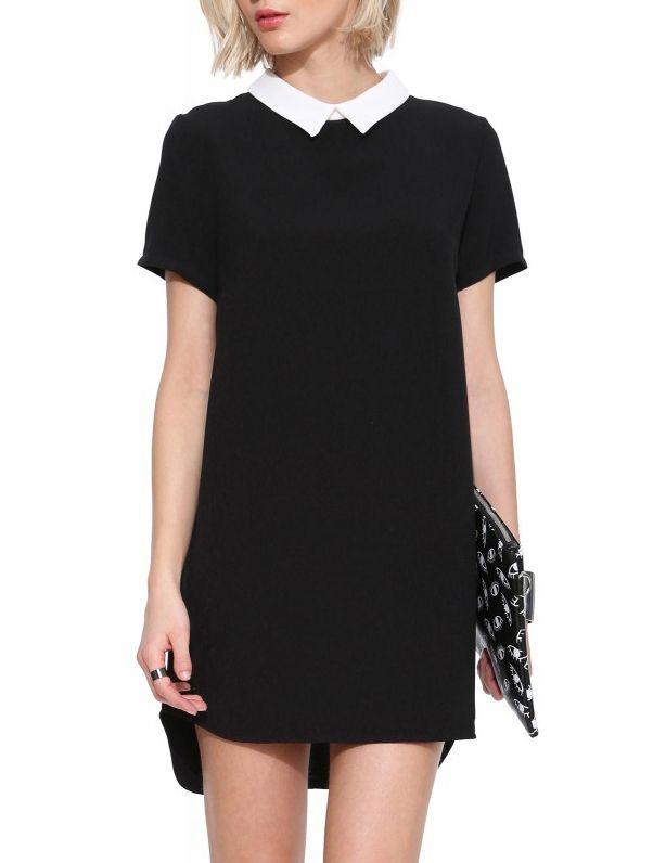 Vestido High Low cuello contraste-negro 18.39
