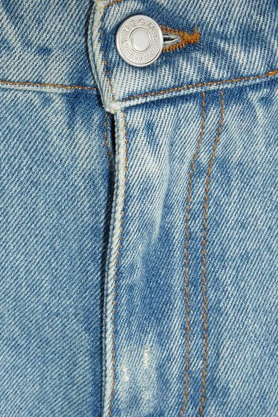 MSGM - Distressed Ruffle-trimmed High-rise Straight-leg Jeans - Light denim - IT44