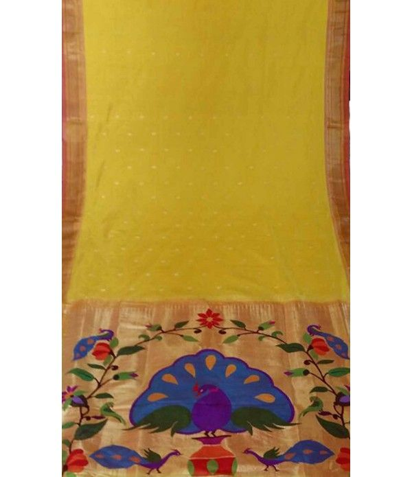 Yellow flower work Handloom Paithani Saree--------------------------Saree is a garment that is weaved with the threads of tradition and Indian culture. Today we do look at sarees as a style statement because they are fashionable garments. There is a legacy behind every type of saree that is popular in India.------Sarees from luxurionworld.com
