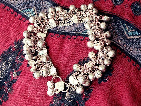 Bell anklet anklet bracelet silver anklet ethnic by CarmelaRosa