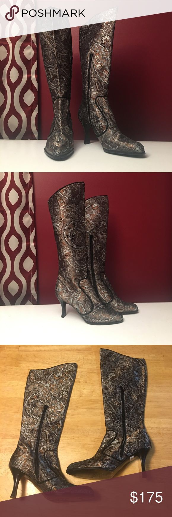 Stuart Weitzman Boots These Stuart Weitzman boots deserve a really good home where they will be worn and loved with appreciation! The pattern is an unusual paisley pattern, the soles are leather. On each boot's upper part of the instep is a zipper that starts from the bottom and goes a little more than half way up. Worn only three times. The marks on the bottom of the soles were from the markings of the stickers and the number written by the retailer where they were bought. Smoke free home…