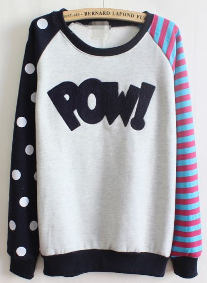 Royal Blue Long Sleeve Striped Polka Dot Sweatshirt pictures