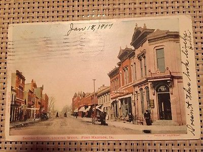 Vintage-Postcard-Fort-Madison-Iowa-Second-Street-Posted-1907-Undivided-Back