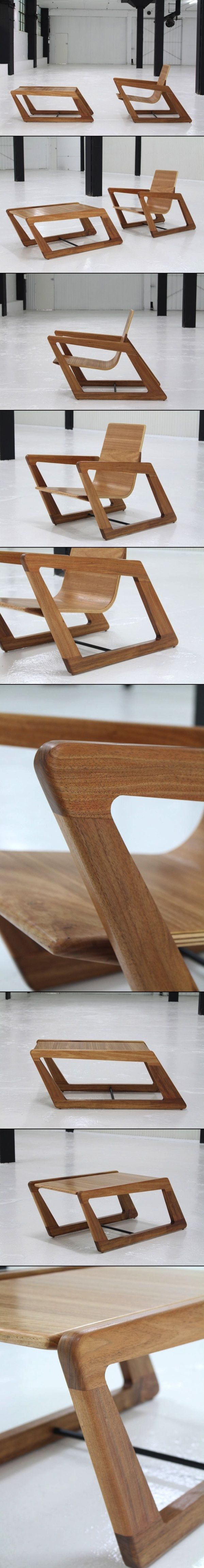 Modern, Sustainable & Slanted: Chair and Table by Cummins Design Cummins Design, out of Sydney, Australia, designed this angular set that includes the PSA2 armchair and the matching PSCT coffee table. Each piece is handcrafted out of sustainable Australian materials, including solid Tasmanian Blackwood, solid and veneer Blackbutt, and Hoop Pine plywood.