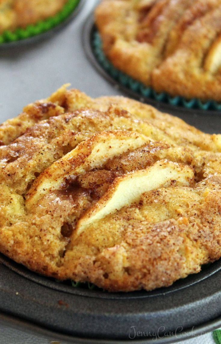 Whole Wheat Apple Muffins recipe from Jenny Jones (JennyCanCook) Lots of apples, low in sugar, no butter, and a sweet, crispy, cinnamon-sugar top.