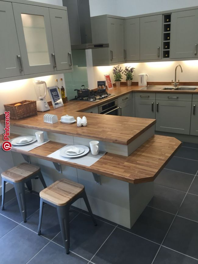 Like Wood Counters And Tiered Peninsula Dream House In 2019 Pinterest Kitchen Kitchen Design And Kitchen Cabinets Kitchen Room Design Kitchen Remodel Small Kitchen Design Small