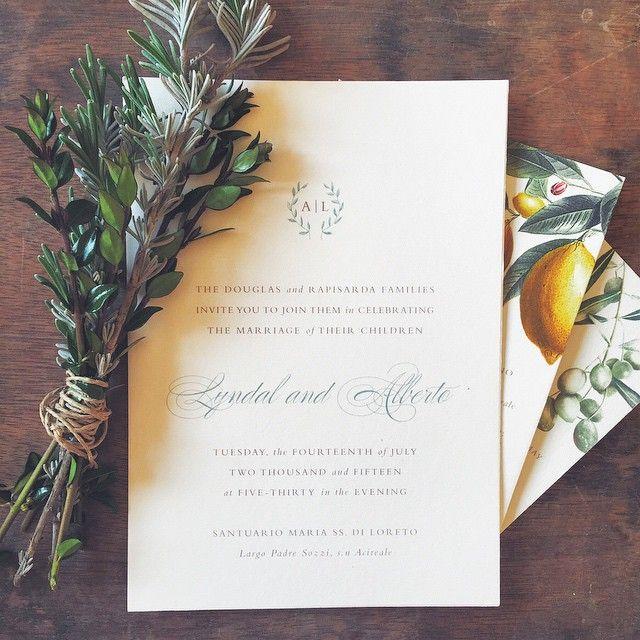 Italian Laurel Wedding Invitations Destination Invites From Tie That Binds In Portland Oregon