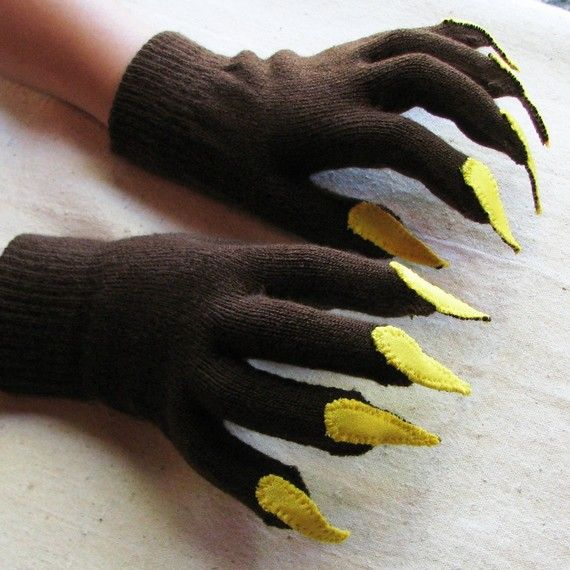Gloves with claws, for costume or dress up, brown and yellow, stretch knit, one size