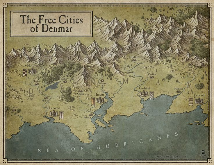 The Free Cities of Denmar by MaximePLASSE map cartography | Create your own roleplaying game material w/ RPG Bard: www.rpgbard.com | Writing inspiration for Dungeons and Dragons DND D&D Pathfinder PFRPG Warhammer 40k Star Wars Shadowrun Call of Cthulhu Lord of the Rings LoTR + d20 fantasy science fiction scifi horror design | Not Trusty Sword art: click artwork for source