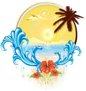 Stock Illustration 10420095 Tropical Beach Logo 362x380