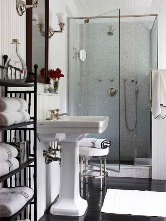 Beautiful Small Bathrooms Ideas For Small House : Elegant Small Bathrooms  Design Classic Style Sink Black Tile Floor Glass Door Shower Room Black  Metal ...