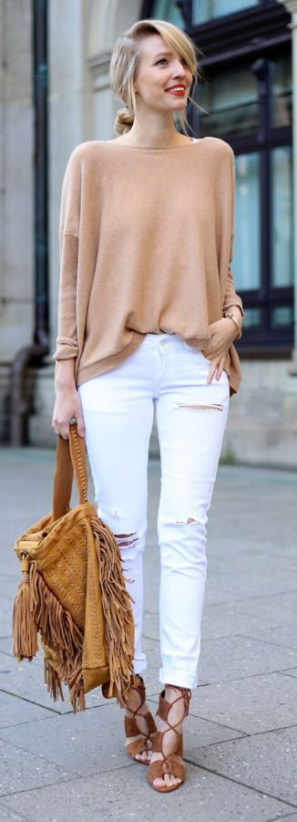 All neutrals, all the time. Love the soft, loose sweater. The white jeans are ok but the make me nervous (I spill coffee way too frequently).