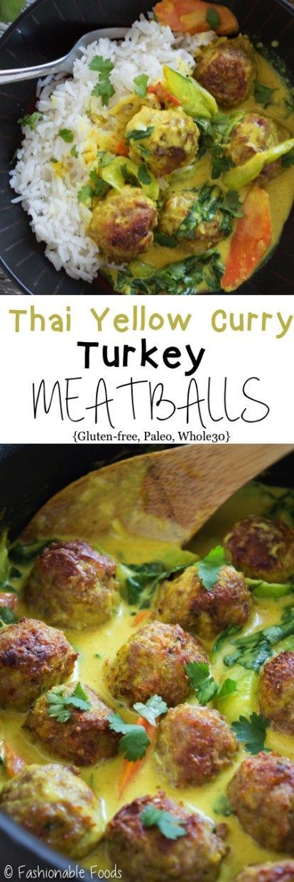 Thai Yellow Curry Turkey Meatballs | Food And Cake Recipes