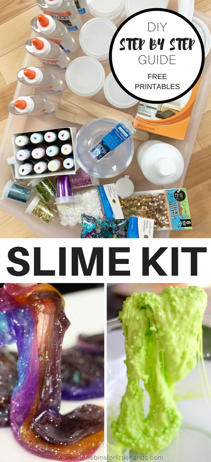 Kids go absolutely crazy for making slime today! Why bother with the dinky little kits in the store when you can put together an easy to make homemade slime kit they will use over and over again. We are going to show you step by step how to build the perfect slime kit to give your kids. Pair it with our printable slime recipe cheat sheet page and keep a slime kit handy for weekends, vacations, and stuck inside days! Homemade slime is an awesome project to share with the kids. #slime…