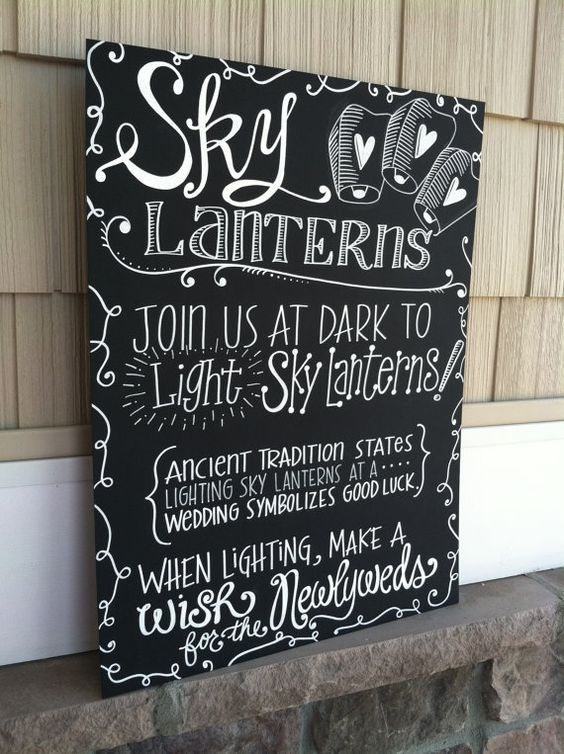 Let your wedding guests know your are doing a wedding sky lantern send off into the night sky! #Wedding #Sky #Lanterns are becoming a popular wedding favor activity!