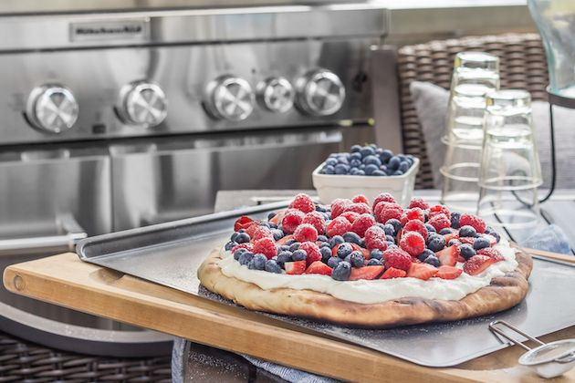 Use your KitchenAid® 8 Burner Gas Grill to grill up a sweet patriotic dessert.   @BakingAMoment made this Honey Wheat Grilled Flatbread with Fresh Berries and Whipped Ricotta recipe for our blog.