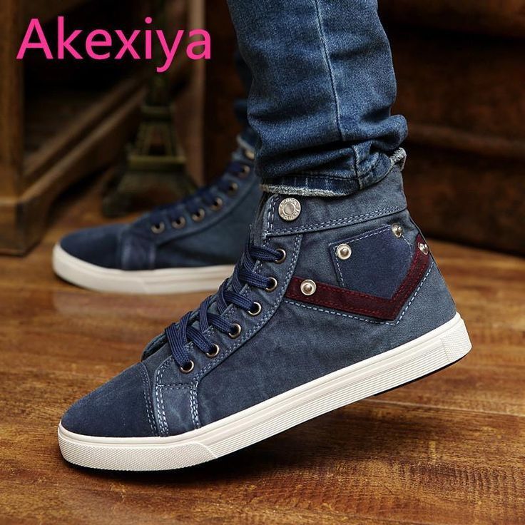 Akexiya High Top men's Canvas Shoes 2017 Spring Flat Leisure Male Casual Shoes Solid Color Leisure Flat Shoes For Men