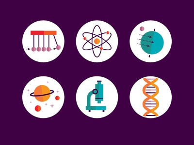Some spot Illustrations for an infographic about STEM education (Science, Technology, Engineering, Mathematics)