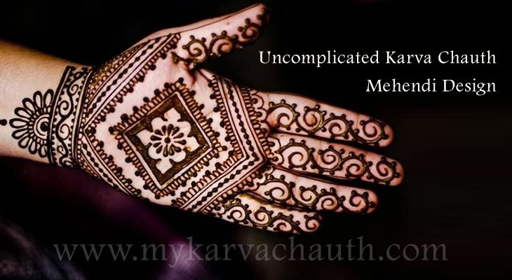 Uncomplicated Karva Chauth Mehendi Design, Yet classy! @ http://bit.ly/2cfQXZ8  #mehndi #designs #karva #chauth #galleries #pictures #Latest