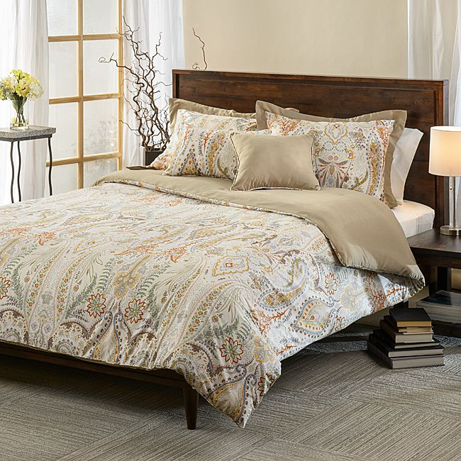 This 5-piece cotton-polyester reversible comforter set is designed with a Paisley pattern that will have your bedroom decorated in luxurious style. This simple design will give any room style and fashion.
