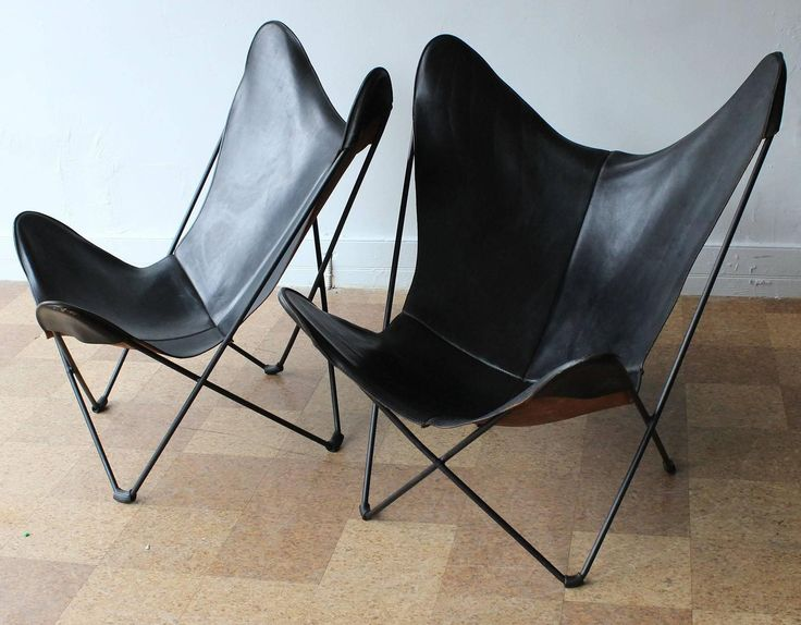 Pair Of Hardoy Leather Butterfly Chairs