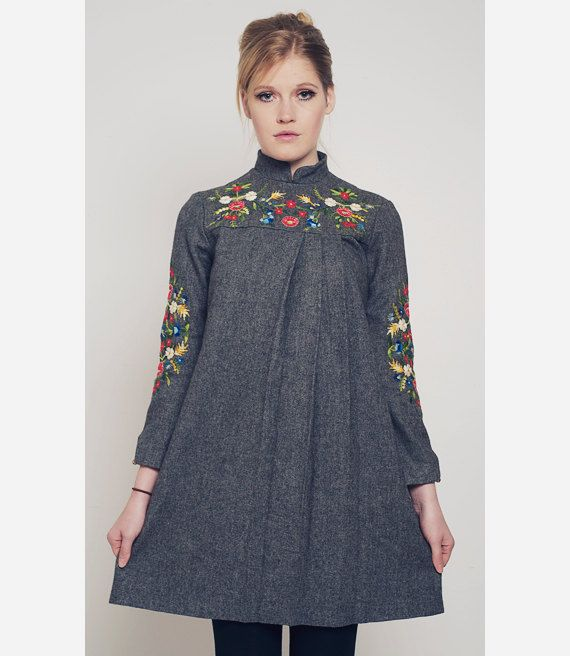 Vintage Pleated Wool Dress with Eastern European Floral Embroidery