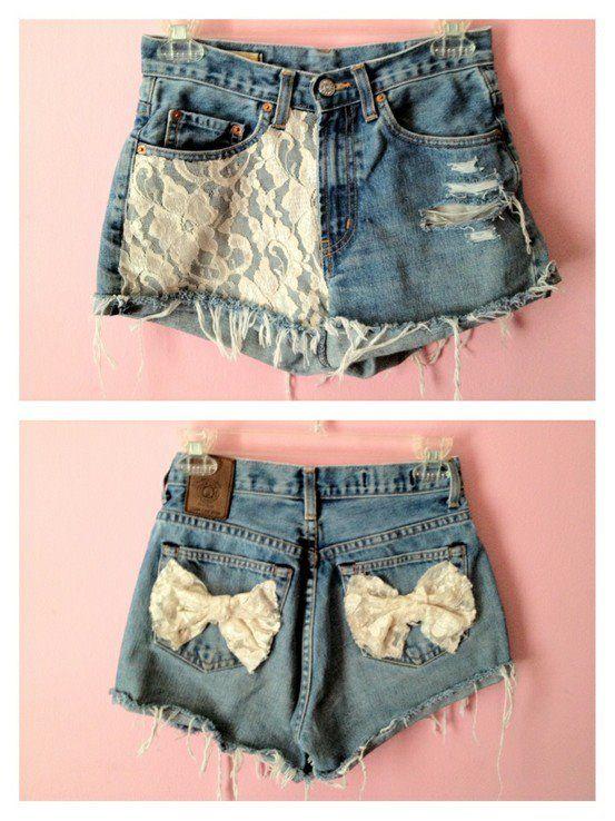 denim shorts with lace details