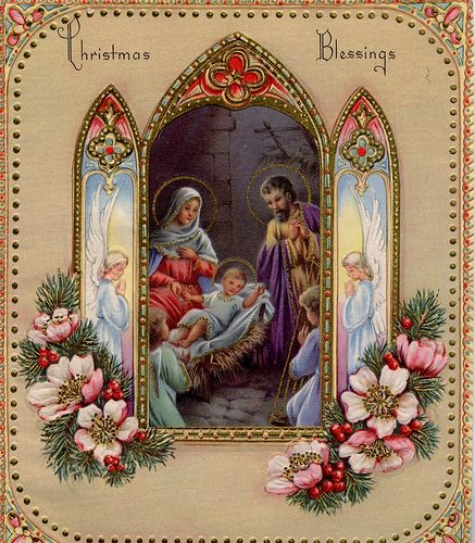 vintage Christmas nativity card...this is So pretty, I wish things still looked like this