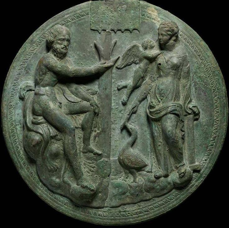 Mirror cover with Aphrodite and a Satyr