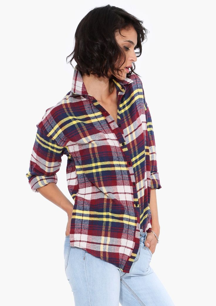 Ruth Plaid Shirt in Burgundy