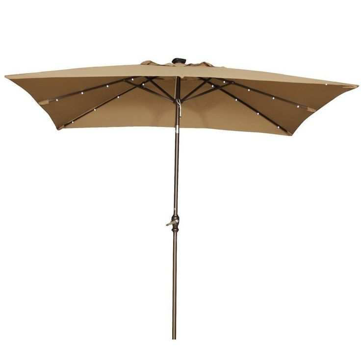 Abba Patio 9 Feet Rectangular Patio Umbrella With Solar Powered 32 LED  Lights (Brown), Size 9 Foot (Polyester)