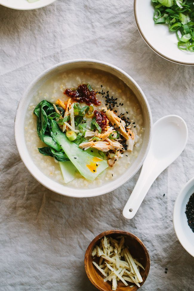 A simple recipe for Ginger Chicken Brown Rice Congee- wonderful for healing and soothing.