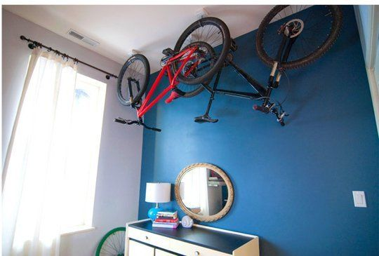 Beautiful Blue Home Office With Bike Storage