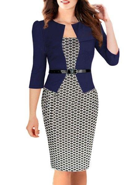 Ladylike  Patchwork Plaid With Zips Bodycon-dress Bodycon Dresses from fashionmia.com