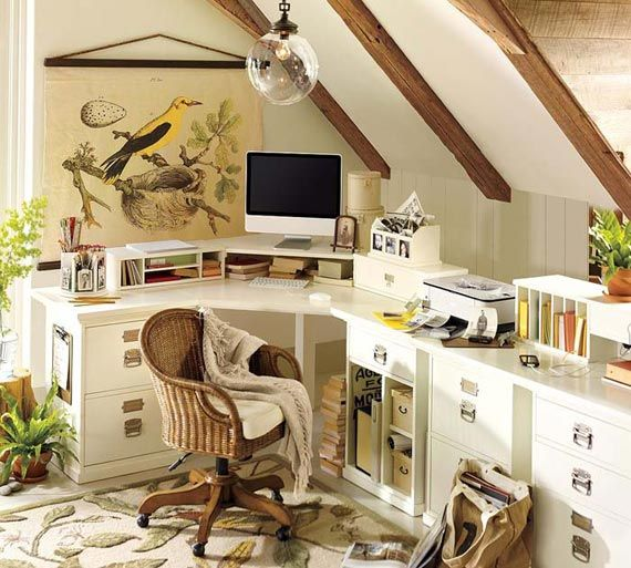 Cool. Small corner office. The details in white (beige) and green makes the scene easy on the eye. Wood finish on the walls and chair make this a good option for a country house.
