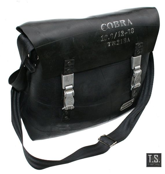 Recycle rubber industrial shoulderbag by TSRUBBERBAGS on Etsy