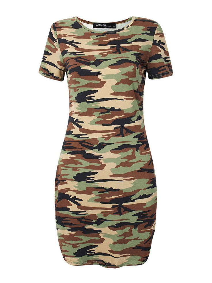 Women Camouflage Printed Short Sleeve O Neck Irregular Hem Mini Dress