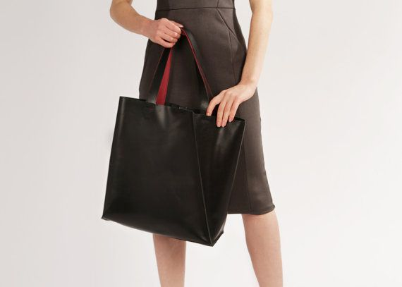 "Black Leather Tote ""Mary Ann Black"", Large Shopper Bag, Handmade Market Tote, Wholesale Bag"