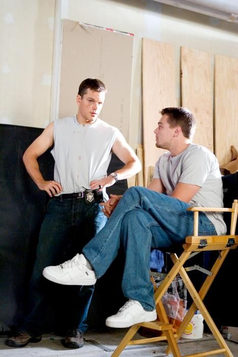 Matt Damon and Leonardo DiCaprio on the set of The Departed (2006)
