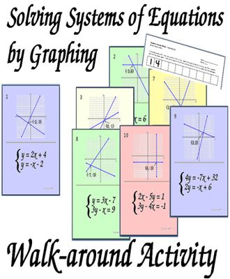 Solving Systems of Equations by Graphing Walk-around Activity from CarynLovesMath on TeachersNotebook.com (21 pages)