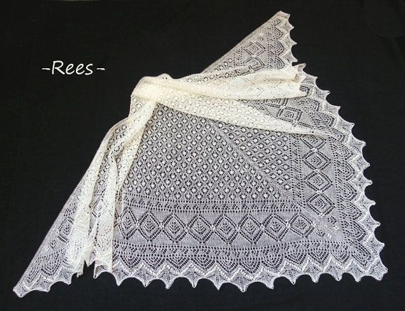 Hand knitted extra large triangular estonian lace shawl based on Haapsalu shawl patterns, wedding shawl from fine wool- CUSTOM MADE